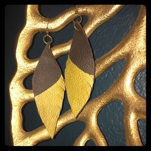 Black and gold feather leather earrings